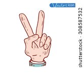 victory hand icon  vector... | Shutterstock .eps vector #308587532