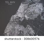 map of tel aviv  israel ... | Shutterstock . vector #308600576