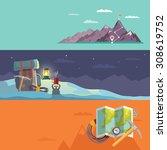 colorful flat banner set.... | Shutterstock . vector #308619752