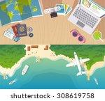 colourful travel flat banner... | Shutterstock . vector #308619758