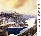 norway scenic mountain... | Shutterstock . vector #308621222