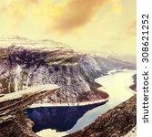 norway scenic mountain... | Shutterstock . vector #308621252