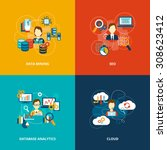 database analytics icons flat... | Shutterstock . vector #308623412