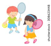 Boy And Girl Kids With Sport...