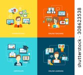 e learning flat icons set with... | Shutterstock . vector #308623538