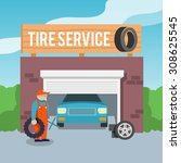 tire wheel service shop garage... | Shutterstock . vector #308625545