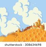 vector landscape with village...   Shutterstock .eps vector #308634698