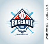 baseball sport badge logo...   Shutterstock .eps vector #308636276
