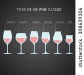 types of red wine glasses ... | Shutterstock .eps vector #308639306