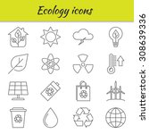 outline icons set. ecology....