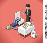 green faced man lying on the... | Shutterstock .eps vector #308651336