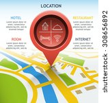 pointer object location on the... | Shutterstock .eps vector #308656892