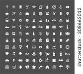 100 flat design vector travel ... | Shutterstock .eps vector #308663012