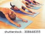 yoga class  group of people... | Shutterstock . vector #308668355