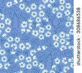 seamless blue flower vector... | Shutterstock .eps vector #308686538