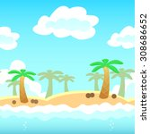 beach background with palm ... | Shutterstock . vector #308686652