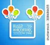 happy birthday retro postcard... | Shutterstock . vector #308686655