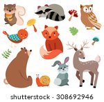 cute forest animals vector set | Shutterstock .eps vector #308692946