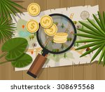 find treasure hunt money map | Shutterstock .eps vector #308695568