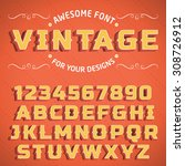 vector vintage 3d font with... | Shutterstock .eps vector #308726912