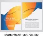vector blue and orange business ... | Shutterstock .eps vector #308731682