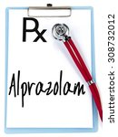 Small photo of alprazolam word write on prescription