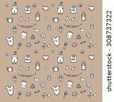 baby background doodles.... | Shutterstock .eps vector #308737322