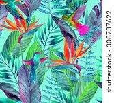 watercolor jungle seamless... | Shutterstock . vector #308737622