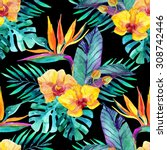 watercolor tropical leaves and... | Shutterstock . vector #308742446