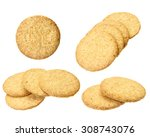 collection of digestive biscuit ... | Shutterstock . vector #308743076