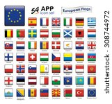 european flags icon set. square ... | Shutterstock .eps vector #308744972