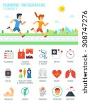 man and woman are running on... | Shutterstock .eps vector #308747276