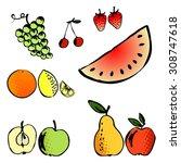 vector illustration set of a... | Shutterstock .eps vector #308747618