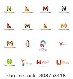 set of new universal company... | Shutterstock .eps vector #308758418