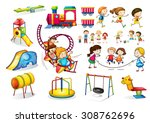 children playing and playground ... | Shutterstock .eps vector #308762696