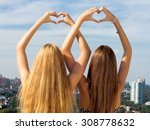teenage sisters holding hands... | Shutterstock . vector #308778632