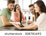 group of friends meeting in the ... | Shutterstock . vector #308781692