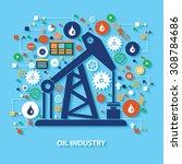oil industry concept design on... | Shutterstock .eps vector #308784686