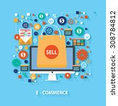 e commerce concept design on... | Shutterstock .eps vector #308784812