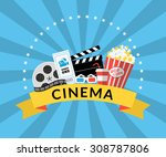flat illustration of cinema... | Shutterstock .eps vector #308787806