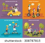 family with kids concept flat... | Shutterstock .eps vector #308787815