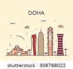 doha skyline  detailed... | Shutterstock .eps vector #308788022