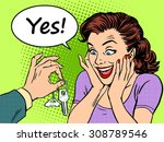 buying a car the woman reaction ... | Shutterstock .eps vector #308789546