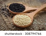 white sesame and black sesame... | Shutterstock . vector #308794766
