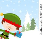 elf with gift | Shutterstock .eps vector #308819486