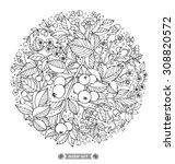 forest flowers  wild berries...   Shutterstock .eps vector #308820572