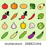 modern flat icons with... | Shutterstock .eps vector #308821346