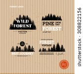 Set Of Forest Logo. Hipster...