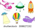 set of cartoon air transport ... | Shutterstock .eps vector #308827232