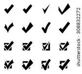 vector black confirm icon set.    Shutterstock .eps vector #308832272